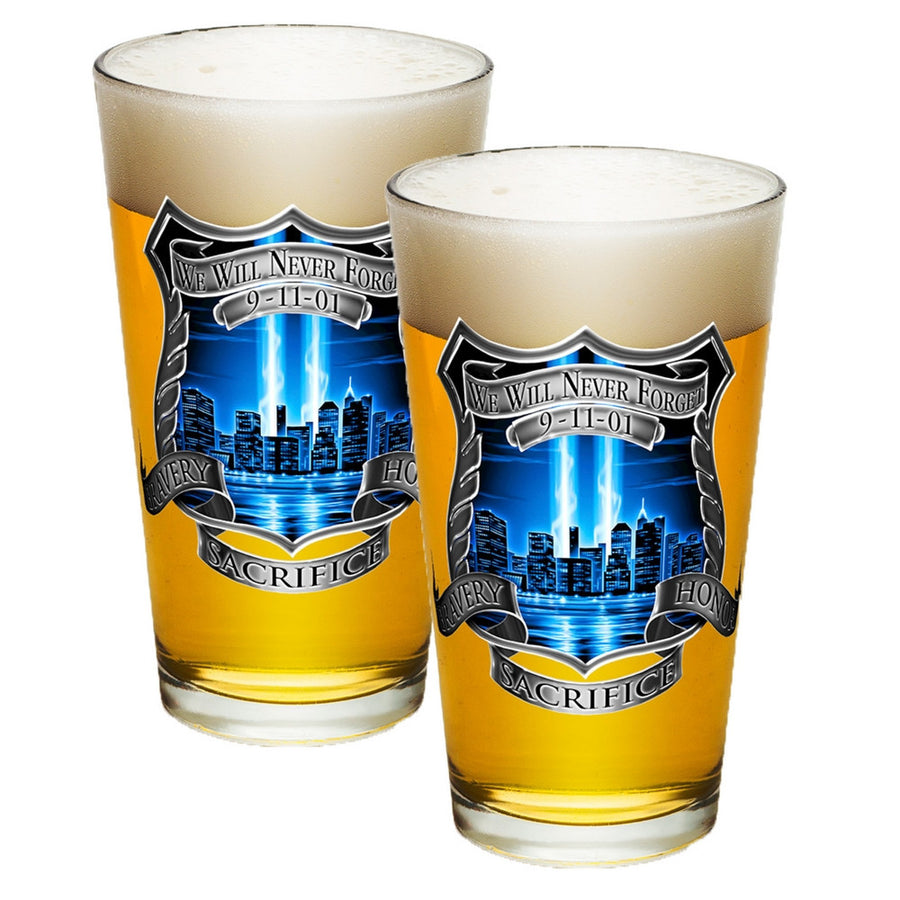 9/11 Police Blue Skies Pint Glasses-Military Republic