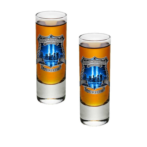 9/11 Police Blue Skies Shot Glasses-Military Republic
