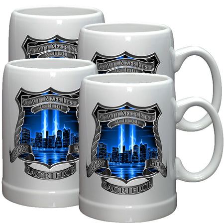 9/11 Police Blue Skies Stoneware Mug Set-Military Republic