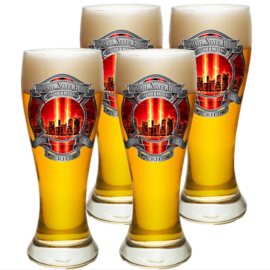 9/11 Police Red Skies Pilsner Glass Set-Military Republic