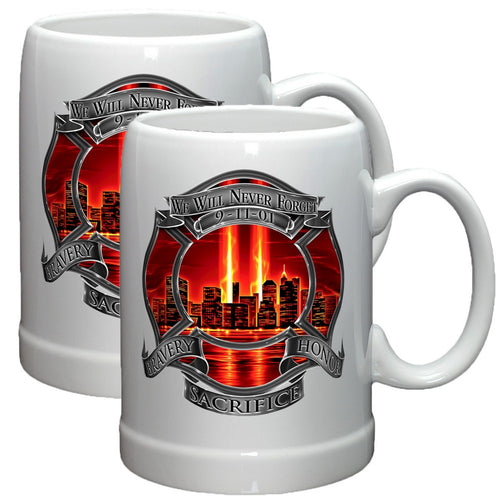9/11 Police Red Skies Stoneware Mug Set-Military Republic