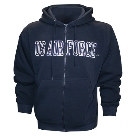 Air Force Embroidered Applique on Blue/Fleece Zip Up Hoodie