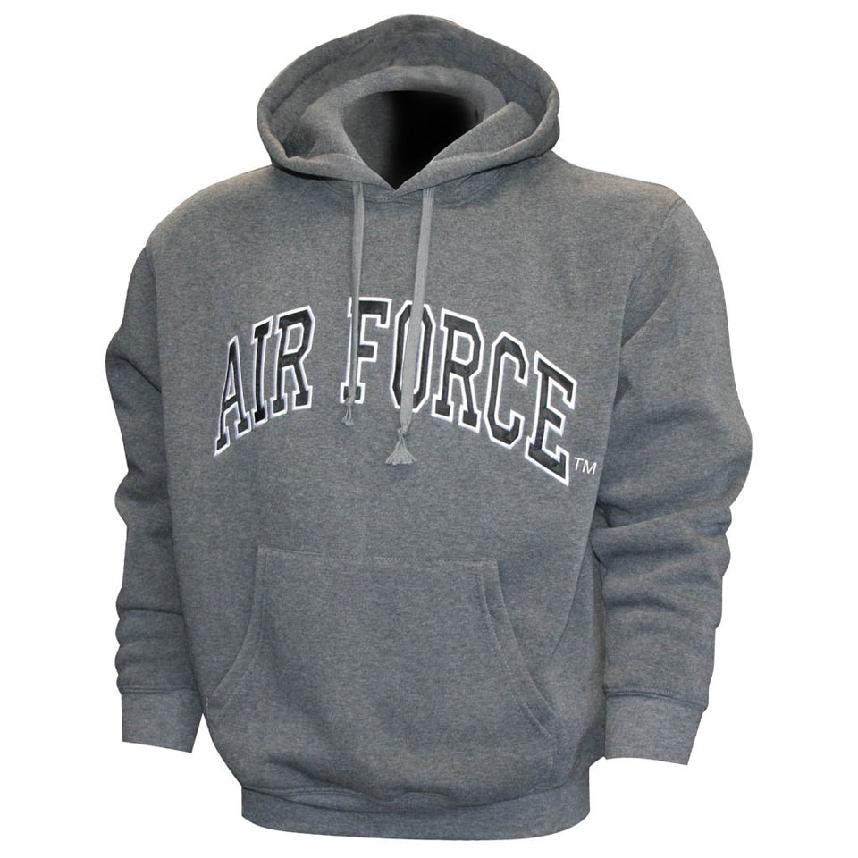Air Force Embroidered Applique on Grey/Fleece Pullover Hoodie