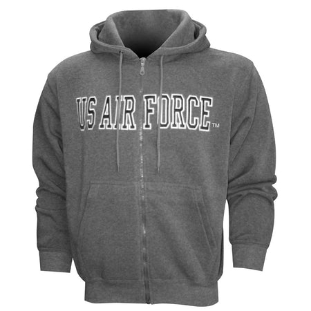 Air Force Embroidered Applique on Grey/Fleece Zip Up Hoodie