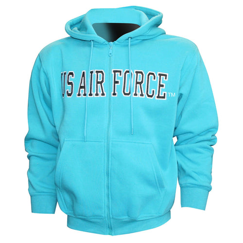 Air Force Embroidered Applique on Turquoise/Fleece Zip Up Hoodie
