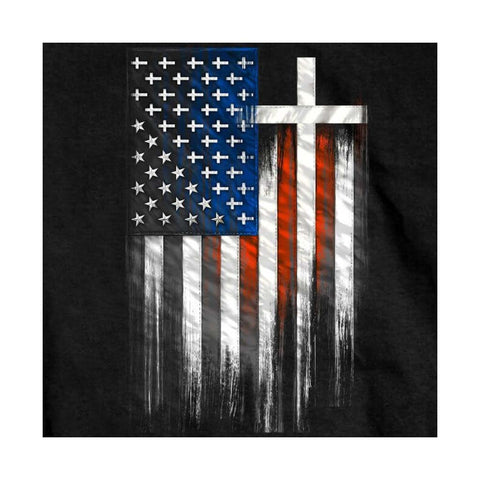 Patriotic American Flag & Cross T Shirt