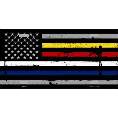American Flag Police / Fire / EMS Stripes Metal License Plate