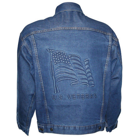 "U.S. ""VETERAN"" Denim Jacket with Embossed American Flag"