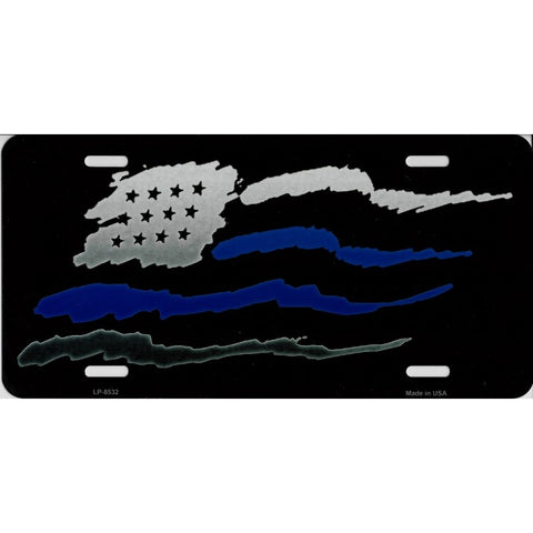 Blue Stripe American Flag Metal License Plate