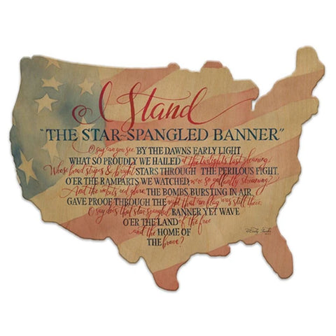 Star Spangled Banner - I Stand - USA Flag Wood Cutout Map