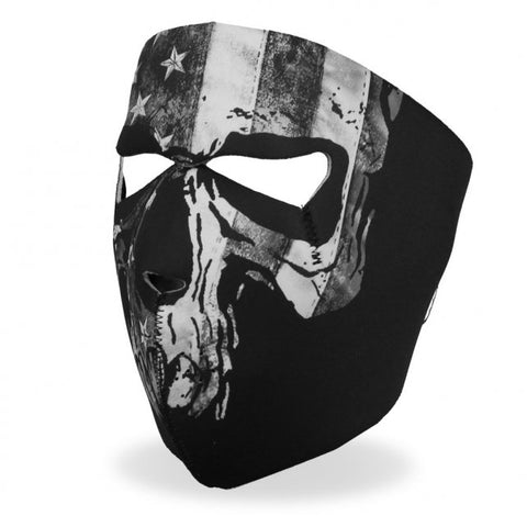 Distressed Gray Flag & Skull Face Mask