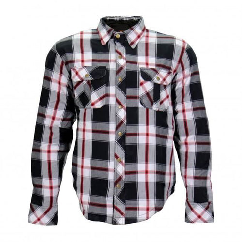 Hot Leathers Armored Red and White Flannel Jacket