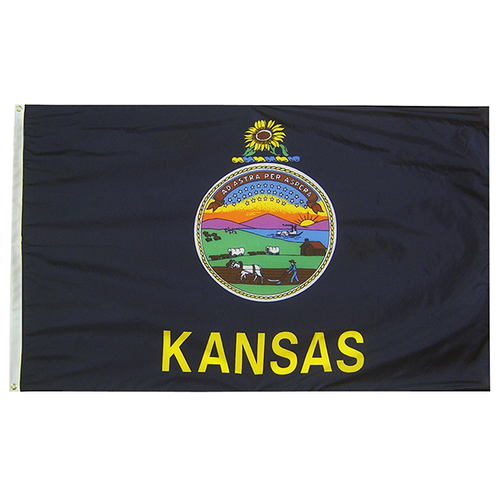 Kansas State Nylon Outdoors Flag- Sizes 2' to 10' Length