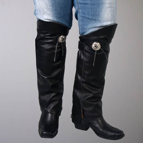 Leather Half Chaps Leg Warmers for Motor Bikers & Horse Riders