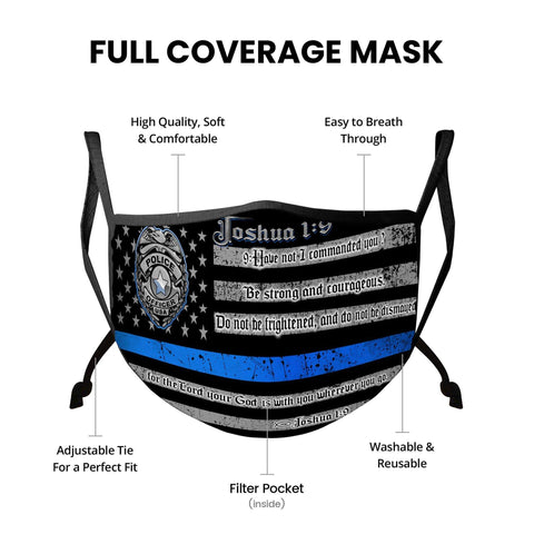 Law Enforcement/Police Blue Line Joshua 1:9 Verse Face Mask