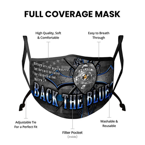 Law Enforcement Back the Blue Matthew 5:9 Christian Face Mask
