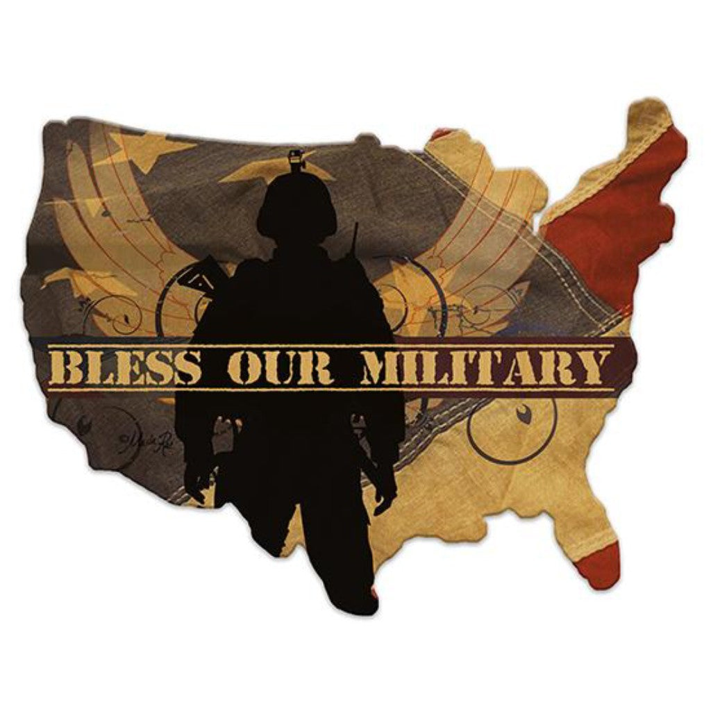 Bless Our Military - Wood Cutout USA Map