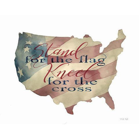 Stand For The Flag Kneel For The Cross - Wood Cutout USA Map