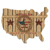 Let Freedom Ring - Wood Cutout USA Map