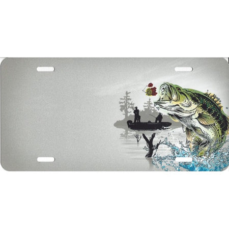 Offset Bass Fishing License Plate