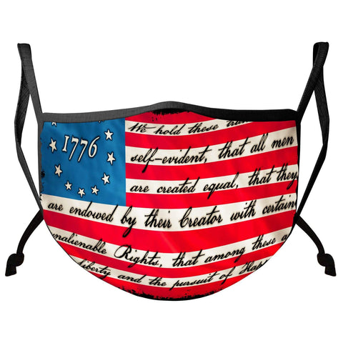Patriotic 1776 Betsy Ross Flag Liberty and Justice For All Face Mask