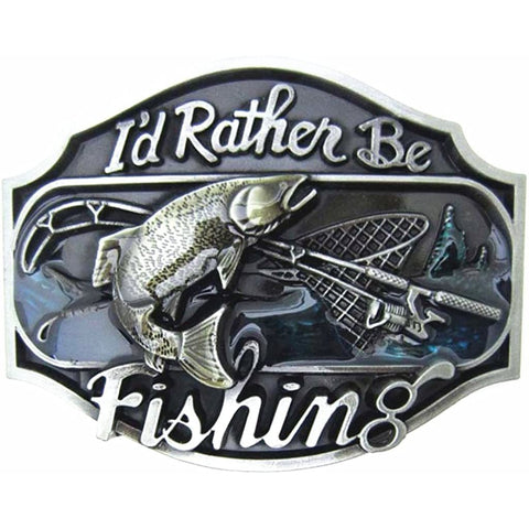 I'd Rather Be Fishing Zinc Alloy Belt Buckle