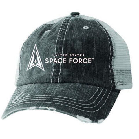U.S. Space Force Logo Embroidered on BlackMesh Ball Cap
