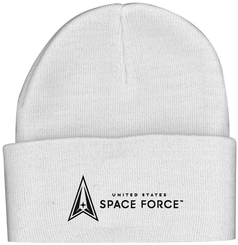 U.S. Space Force Logo on White Knit Watch Cap