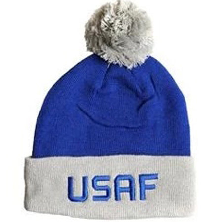 U.S. Air Force Watch Cap Blue and Grey with Pom Pom