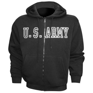U.S. Army Embroidered Applique on Black/Fleece Zip Up Hoodie