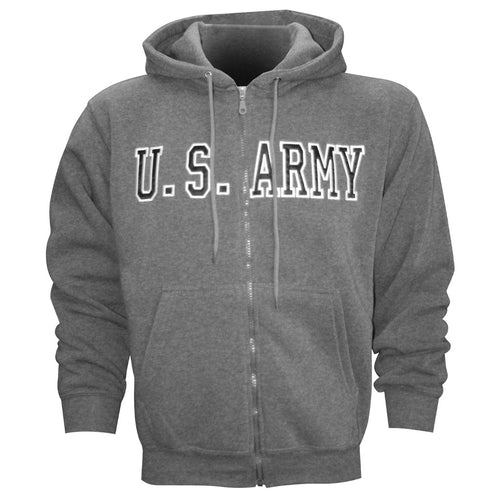 U.S. Army Embroidered Applique on Grey/Fleece Zip Up Hoodie