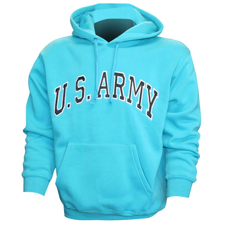 U.S. Army Embroidered Applique on Turquoise/Fleece Pullover Hoodie