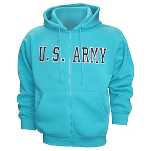U.S. Army Embroidered Applique on Turquoise/Fleece Zip Up Hoodie