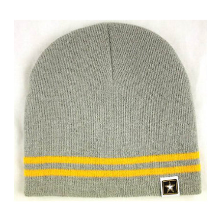 U.S. Army Knit Watch Cap Grey with Yellow Band