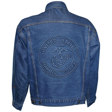U.S. Marine Design Embossed Logo on Denim Jacket