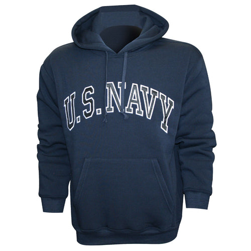 U.S. Navy Embroidered Applique on Blue/Fleece Pullover Hoodie