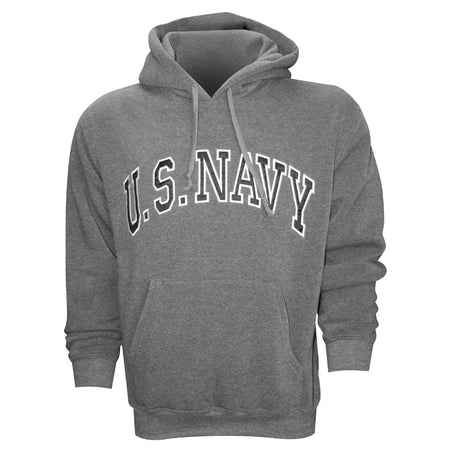 U.S. Navy Embroidered Applique on Grey/Fleece Pullover Hoodie