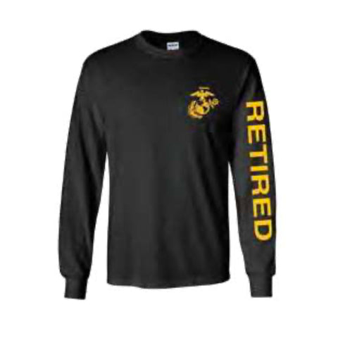U.S. Marines Retired Sport Long Sleeve Shirt -Black