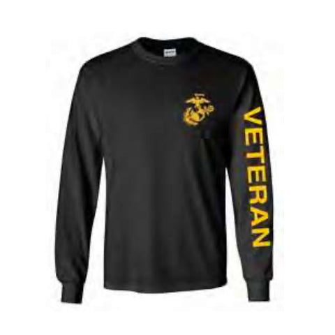 U.S. Marines Veteran Sport Long Sleeve Shirt -Black