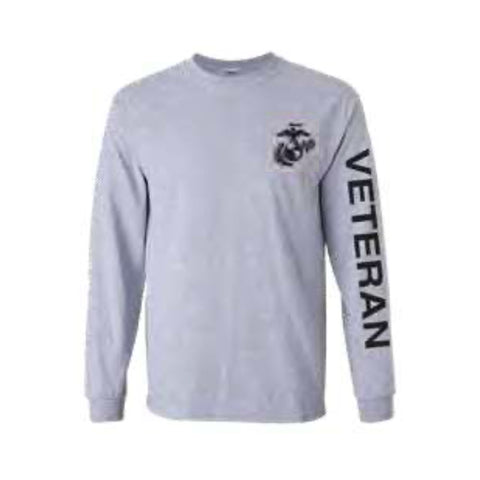 U.S. Marines Veteran Sport Long Sleeve Shirt -Grey