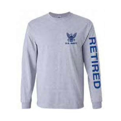 U.S. Navy Retired Sport Long Sleeve Shirt -Grey