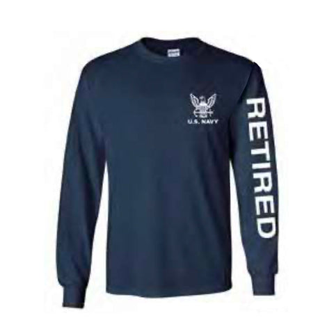 U.S. Navy Retired Sport Long Sleeve Shirt -Navy Blue