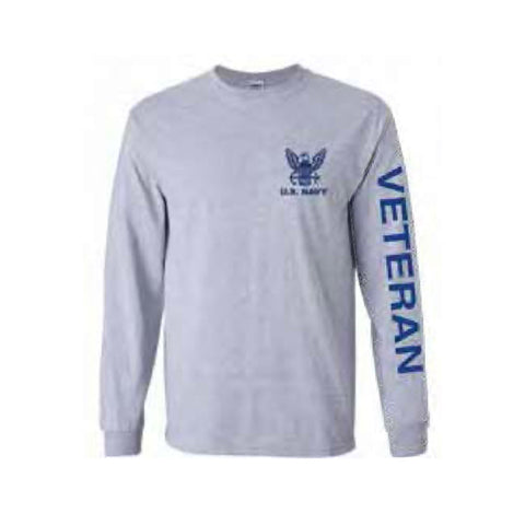 U.S. Navy Veteran Sport Long Sleeve Shirt -Grey