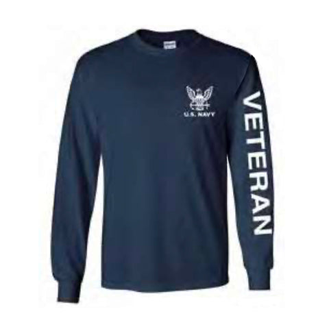 U.S. Navy Veteran Sport Long Sleeve Shirt -Navy Blue