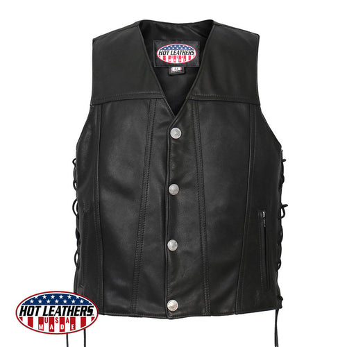 USA Made Buffalo Nickel Snap Premium Leather Vest