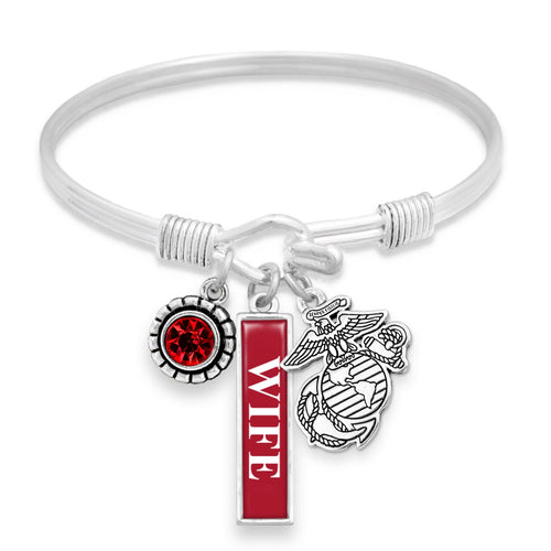 U.S. Marines® Bracelet- Triple Vertical Charm - Wife