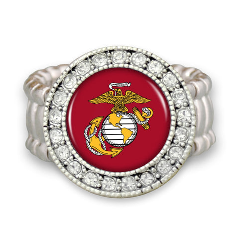 U.S. Marines Stretchy Ring with Round Crystal Edge