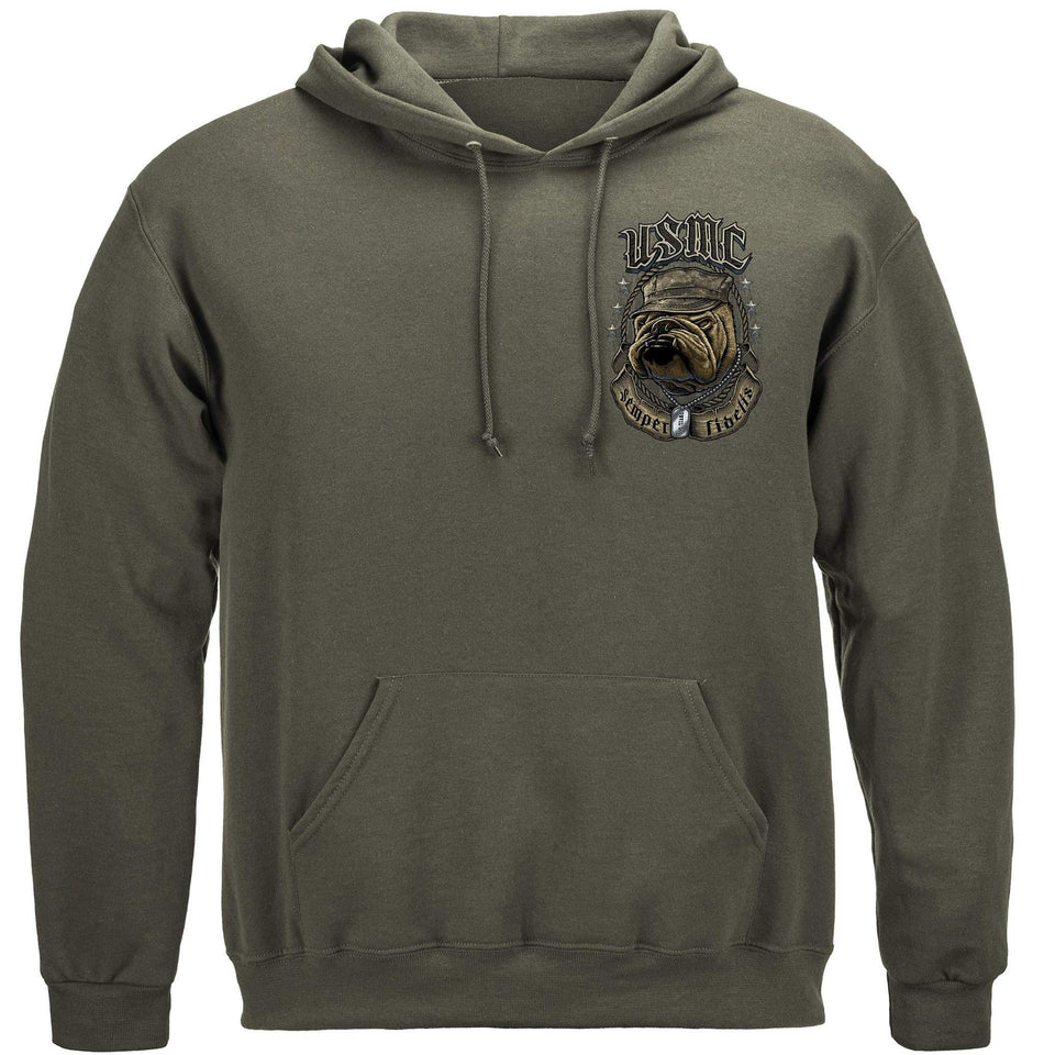 USMC Bull Dog Crossed Swords Hoodie