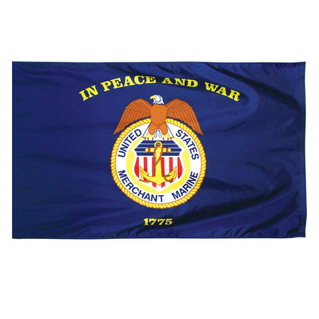 U.S. Merchant Marine Nylon Outdoors Flag- Sizes 2'x3'/ 3'x5'/ 4'x6'/ 5'x8' /6'x10'
