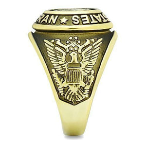US Vietnam Veteran Stainless Steel Gold Plated Ring